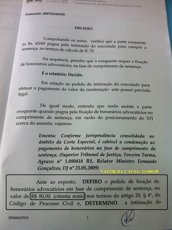 Justiça de GO fixa honorários advocatícios em R$80