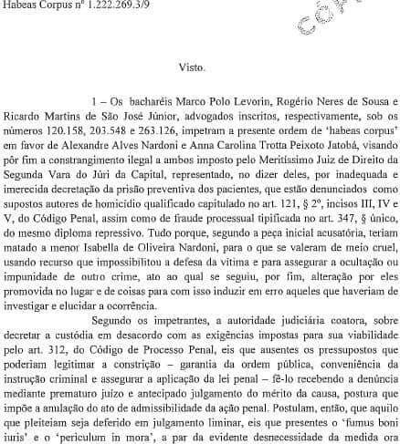 Caso Isabella - TJ/SP mantém prisão preventiva de Alexandre Nardoni e Anna Carolina Jatobá